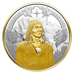 2018 Canadian $25 Tecumseh's Birth 250th Anniv 1 oz Fine Silver & Gold-plated Piedfort Coin