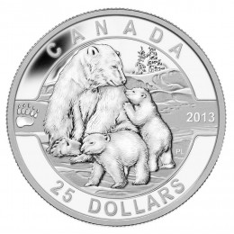 2013 Canada Fine Silver $25 Coin - O Canada Series: The Polar Bear