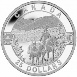 2014 Canada Fine Silver $25 Coin - O Canada Series: Cowboy in the Canadian Rockies