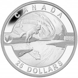 2014 Canada Fine Silver $25 Coin - O Canada Series: Arctic Fox and the Northern Lights