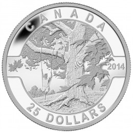 2014 Canada Fine Silver $25 Coin - O Canada Series: Under the Maple Tree