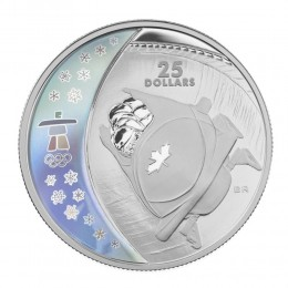 2008 Canada Sterling Silver $25 Coin - Vancouver 2010 Olympic Winter Games: Bobsleigh