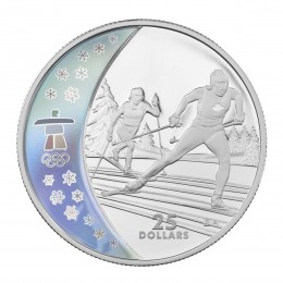 2009 Canada Sterling Silver $25 Coin - Vancouver 2010 Olympic Winter Games: Cross Country Skiing