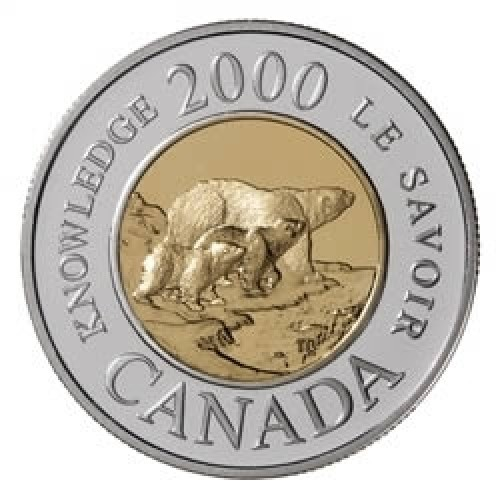 2000 Canada Millennium Proof 22-karat Gold Polar Bear $2 Coin - 3 Bears (Knowledge)