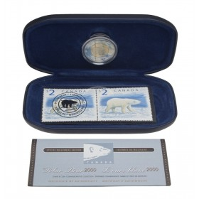 2000 Canada Special Millennium Edition $2 Coin & Stamp Commemorative Collection - Polar Bear