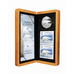 2004 Canada Limited Edition Sterling Silver $2 Coin & Stamp Set - The Proud Polar Bear