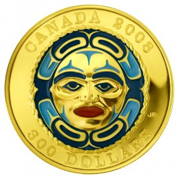 2008 Canada 14-karat Gold $300 Coin - Four Seasons Moon Mask