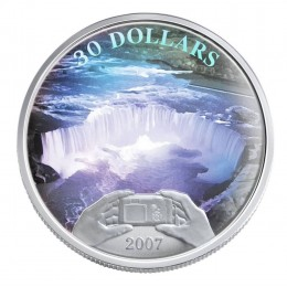 2007 Canada Sterling Silver $30 Coin - Panoramic Photography in Canada, Niagara Falls