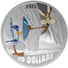2015 Canadian $30 Looney Tunes™ Classic Scenes: Fast and Furry-ous - 2 oz Fine Silver Coloured Coin