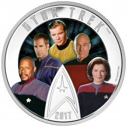 2017 Canadian $30 Star Trek™ Five Captains 2 oz Fine Silver Coin (Glow-In-The-Dark)