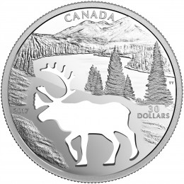 2017 Canadian $30 Endangered Animal Cutout: Woodland Caribou - 1.7 oz Fine Silver Coin