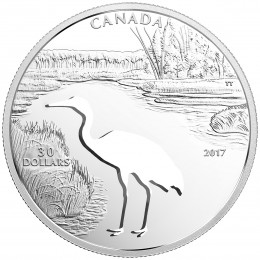 2017 Canadian $30 Endangered Animal Cutout: Whooping Crane - 1.7 oz Fine Silver Coin