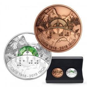 2018 Canadian $30 100th Anniversary of the Canadian National Institute of the Blind - 2 oz Fine Silver Coin & Bronze Medallion Set