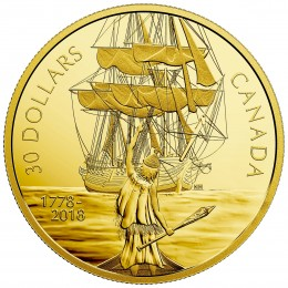 2018 Canadian $30 Captain Cook and the HMS Resolution - 2 oz Fine Silver & Gold-plated Coin