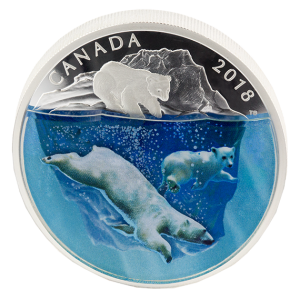 2018 Canadian $30 Dimensional Nature: Polar Bears - 2 oz Fine Silver Coin