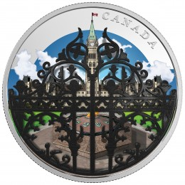 2018 Canadian $30 The Queen's Gate: Formal Entrance to Parliament Hill 2 oz Fine Silver Convex Coloured Coin