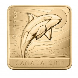 2011 Canadian $3 Wildlife Conservation Series: Orca Whale Sterling Silver Gold-plated Square Coin