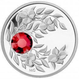 2012 Canada Fine Silver $3 Coin - Birthstone Collection: July, Ruby