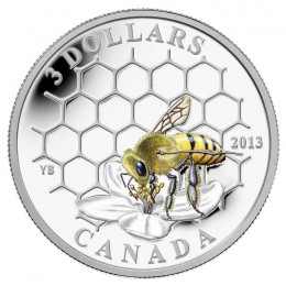 2013 Canada Fine Silver $3 Coin - Animal Architects: Bee & Hive