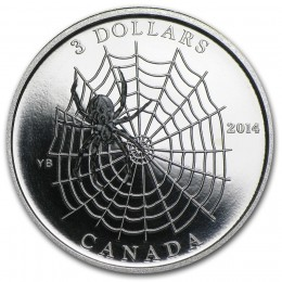 2014 Canada Fine Silver $3 Coin - Animal Architects: Spider Web
