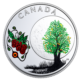 2018 Canadian $3 Thirteen Teachings From Grandmother Moon: Strawberry Moon - Fine Silver Coin