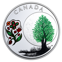 2018 Canadian $3 Thirteen Teachings From Grandmother Moon: Thimbleberry Moon - Fine Silver Coin