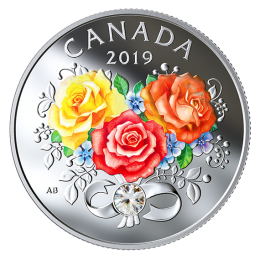 2019 Canadian $3 Celebration of Love - Fine Silver Coin with Swarovski® Crystal