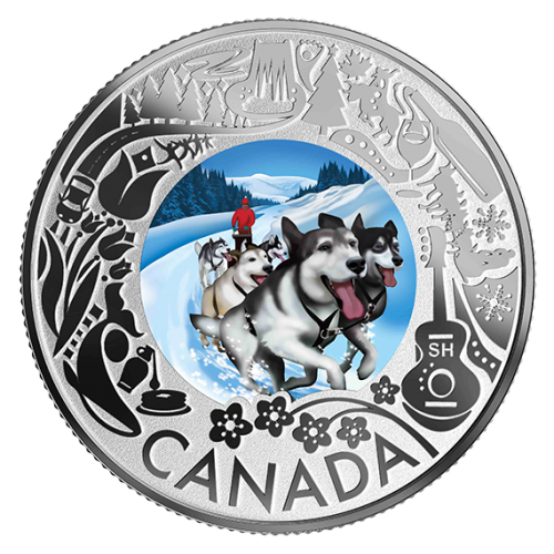2019 Canadian $3 Dogsledding: Celebrating Canadian Fun and Festivities - Fine Silver Coloured Coin