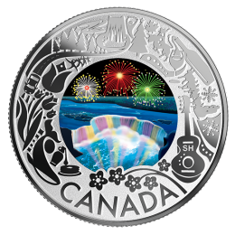 2019 Canadian $3 Niagara Falls Winter Lights: Celebrating Canadian Fun and Festivities - Fine Silver Coloured Coin