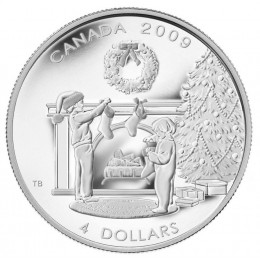 2009 Canada Fine Silver $4 Coin - Hanging the Stockings