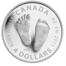 2011 Canadian $4 Welcome to the World, Baby Feet 1/2 oz Fine Silver Coin