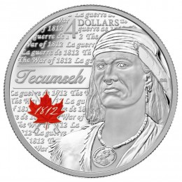 2012 Canada Fine Silver $4 Coin - Heroes of 1812, Tecumseh