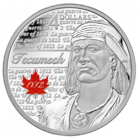 2012 Canadian $4 Heroes of 1812: Tecumseh Fine Silver Coin