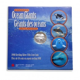 1998 Canadian 50 Cent Canada's Ocean Giants: Blue Whale Proof Silver Coin