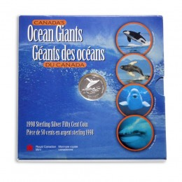 1998 Canadian 50 Cent Canada's Ocean Giants: Humpback Whale Proof Silver Coin
