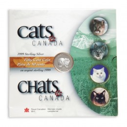 1999 Sterling Silver 50 Cent Coin - Cats of Canada: Lynx