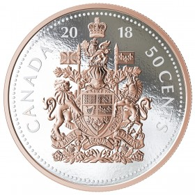 2018 Canadian 50-Cent Big Coin Series: Coat of Arms 5-ounce Fine Silver & Rose Gold-plated Coin