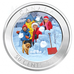 2018 Canadian 50-Cent 3D Snowball Fight Holiday Lenticular Coin