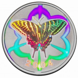 2004 Canadian 50-Cent Tiger Swallowtail Butterfly Sterling Silver Hologram Coin