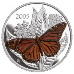 2005 Canadian 50-Cent Monarch Butterfly Sterling Silver Coloured Coin