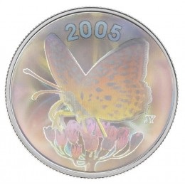 2005 Canadian 50-Cent Great Spangled Fritillary Butterfly Sterling Silver Hologram Coin