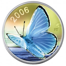 2006 Canadian 50-Cent Silvery Blue Butterfly Sterling Silver Hologram Coin