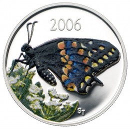 2006 Canadian 50-Cent Short-tailed Swallowtail Butterfly Sterling Silver Coloured Coin