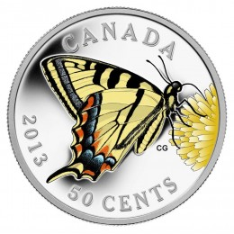 2013 Canada Silver Plated 50 Cent Coin - Canadian Tiger Swallowtail
