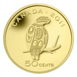 2011 Canada 1/25 oz Pure Gold 50 Cent Coin - Peregrine Falcon