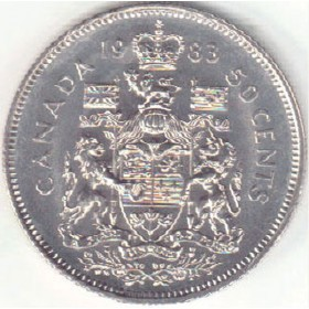 1983 Canadian 50-Cent Coat of Arms Half Dollar Coin (Circulated)