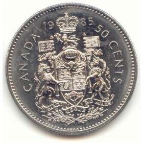1985 Canadian 50-Cent Coat of Arms Half Dollar Coin (Circulated)