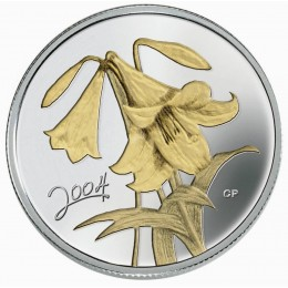 2004 Canada Sterling Silver 50 Cent Coin - Golden Flower Series: Easter Lily
