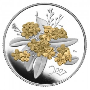 2007 Canada Sterling Silver 50 Cent Coin - Golden Flower Series: Forget-Me-Not