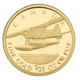 2008 Canada 1/25 oz Pure Gold 50 Cent Coin - de Havilland Beaver